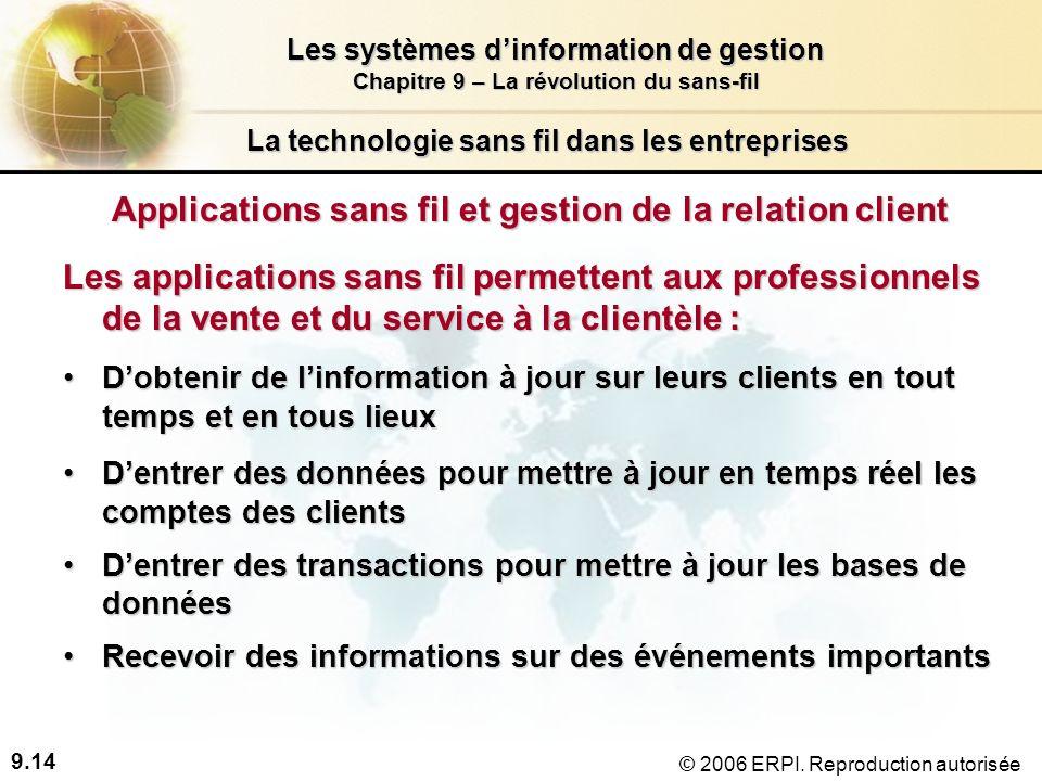 9.14 Les systèmes dinformation de gestion Chapitre 9 – La révolution du sans-fil © 2006 ERPI.