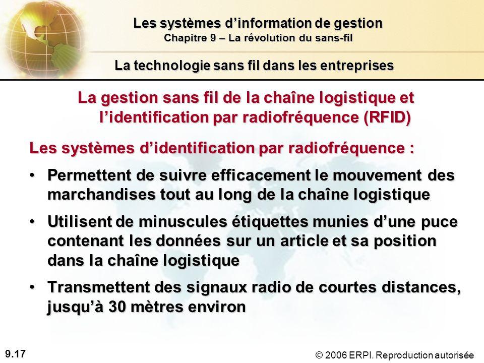 9.17 Les systèmes dinformation de gestion Chapitre 9 – La révolution du sans-fil © 2006 ERPI.