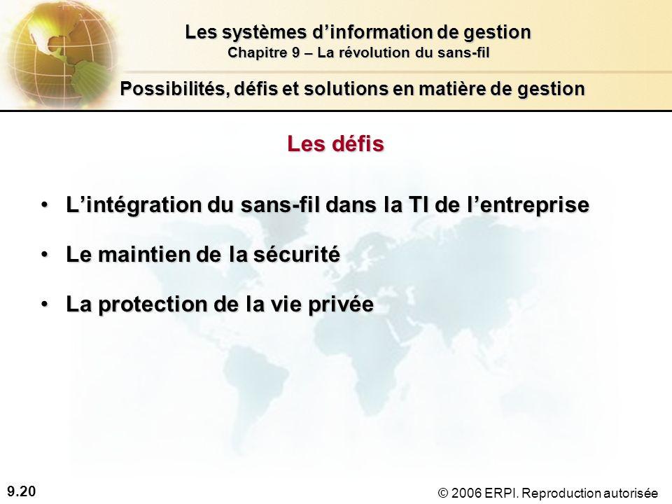 9.20 Les systèmes dinformation de gestion Chapitre 9 – La révolution du sans-fil © 2006 ERPI.