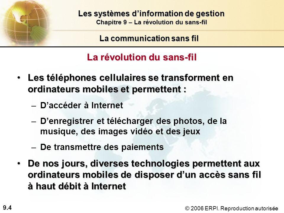 9.15 Les systèmes dinformation de gestion Chapitre 9 – La révolution du sans-fil © 2006 ERPI.