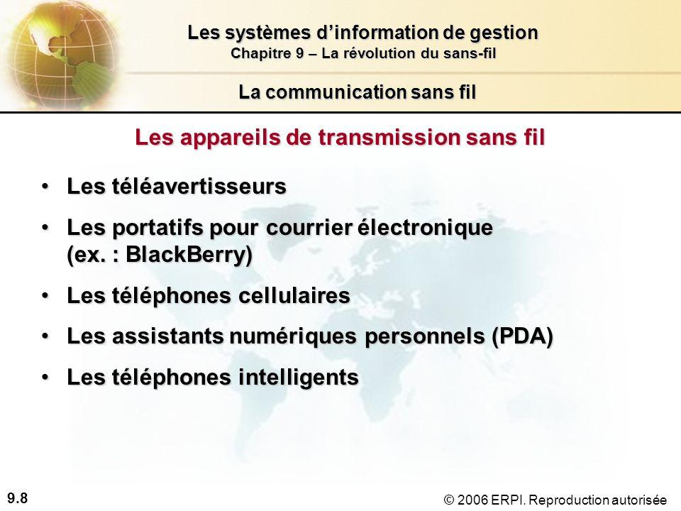 9.19 Les systèmes dinformation de gestion Chapitre 9 – La révolution du sans-fil © 2006 ERPI.