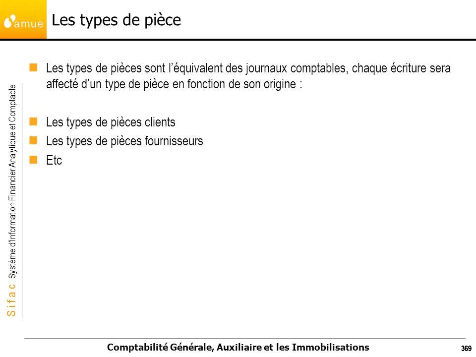 S i f a c Système dInformation Financier Analytique et Comptable Comptabilité Générale, Auxiliaire et les Immobilisations 369 Les types de pièce Les t