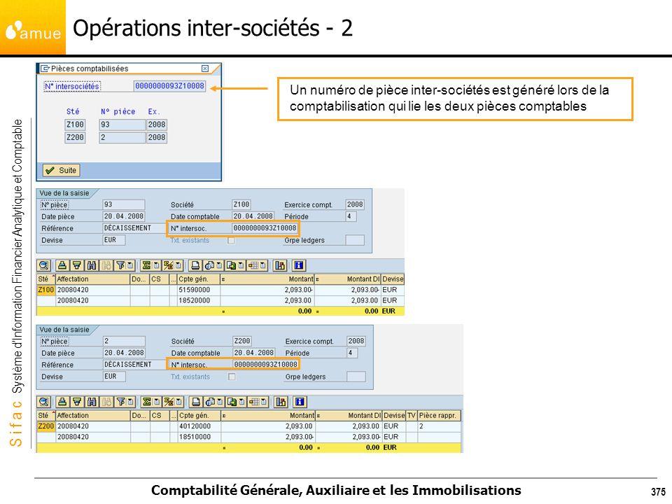 S i f a c Système dInformation Financier Analytique et Comptable Comptabilité Générale, Auxiliaire et les Immobilisations 375 Opérations inter-société