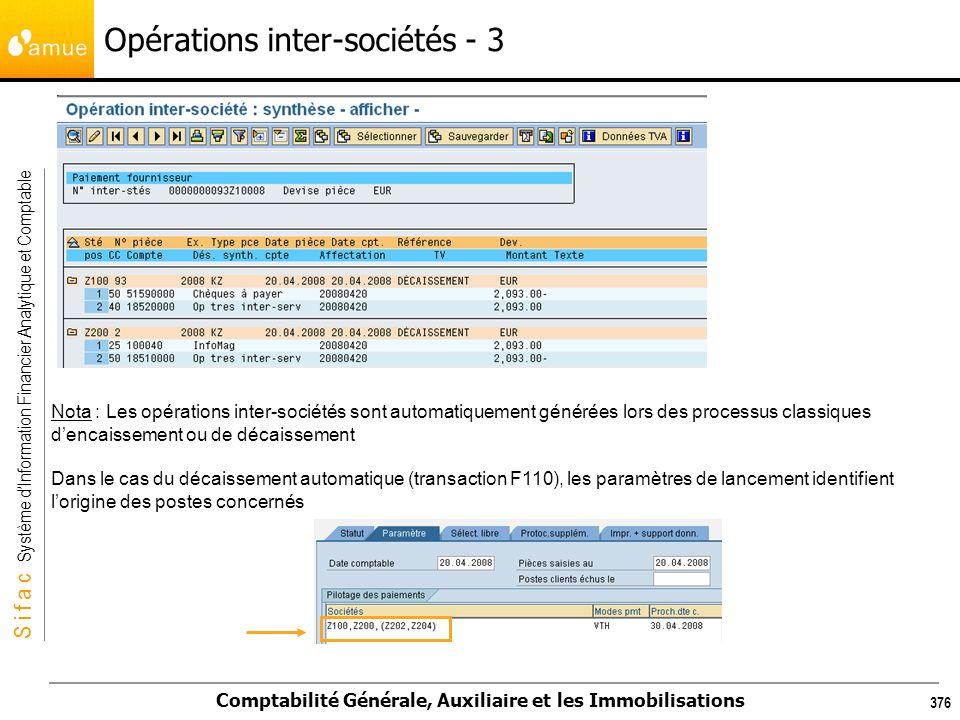 S i f a c Système dInformation Financier Analytique et Comptable Comptabilité Générale, Auxiliaire et les Immobilisations 376 Nota : Les opérations in