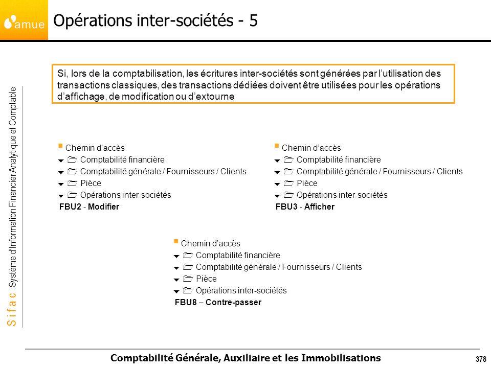 S i f a c Système dInformation Financier Analytique et Comptable Comptabilité Générale, Auxiliaire et les Immobilisations 378 Opérations inter-société