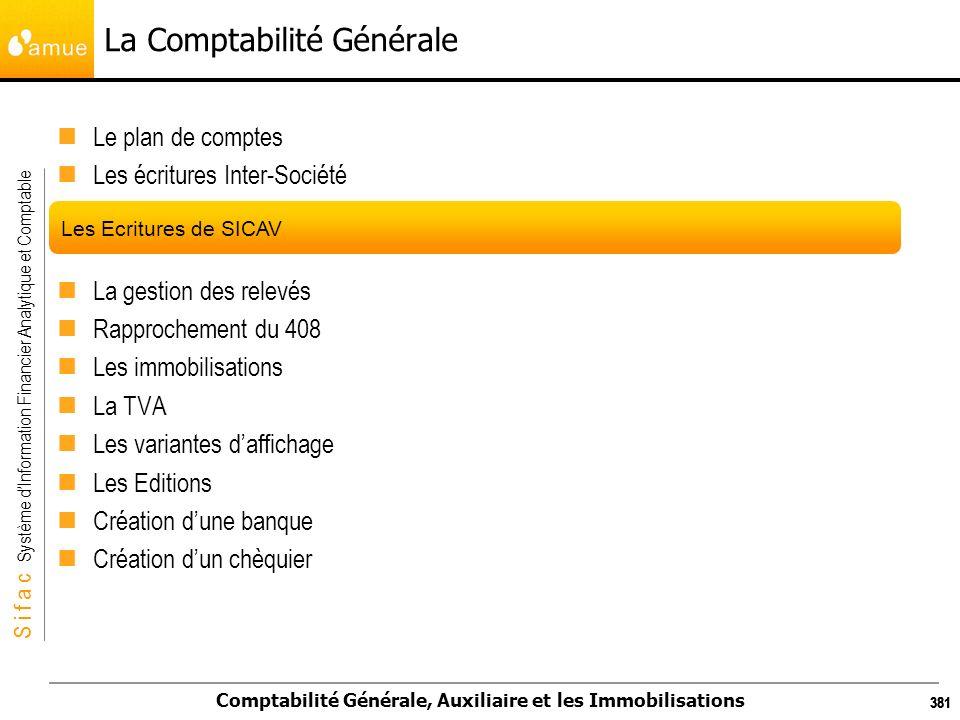 S i f a c Système dInformation Financier Analytique et Comptable Comptabilité Générale, Auxiliaire et les Immobilisations 381 La Comptabilité Générale
