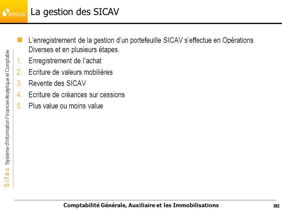S i f a c Système dInformation Financier Analytique et Comptable Comptabilité Générale, Auxiliaire et les Immobilisations 382 La gestion des SICAV Len