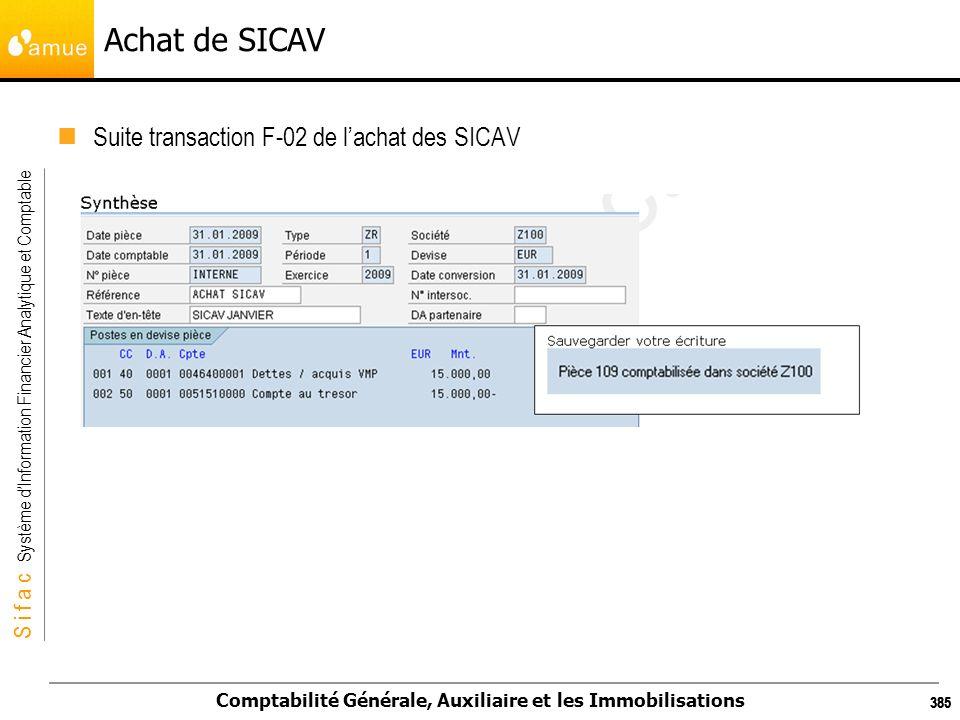S i f a c Système dInformation Financier Analytique et Comptable Comptabilité Générale, Auxiliaire et les Immobilisations 385 Achat de SICAV Suite tra