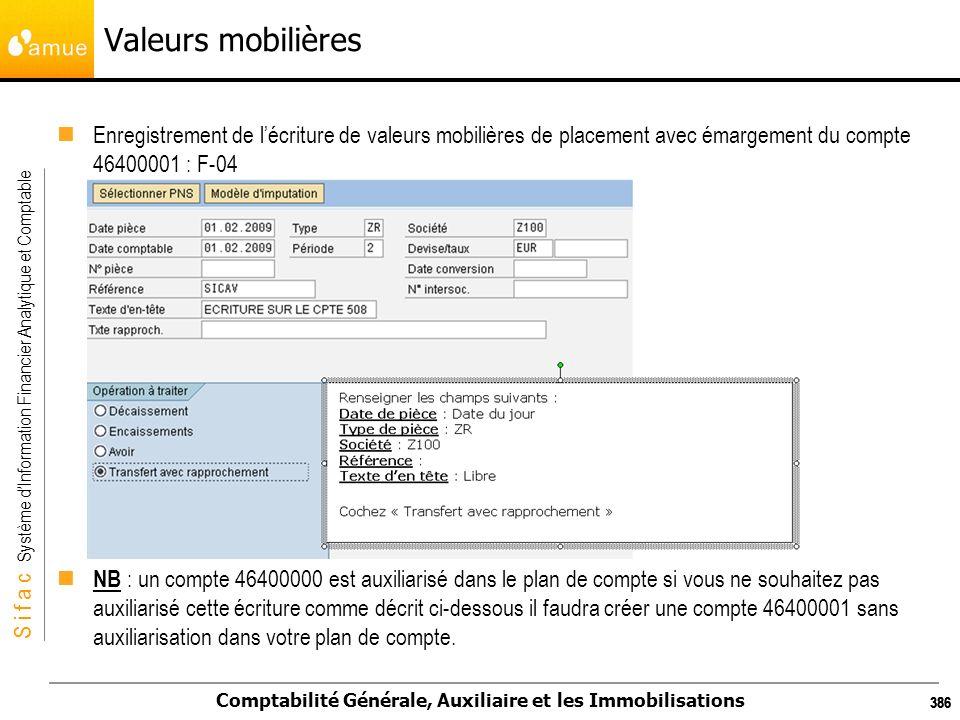 S i f a c Système dInformation Financier Analytique et Comptable Comptabilité Générale, Auxiliaire et les Immobilisations 386 Valeurs mobilières Enreg