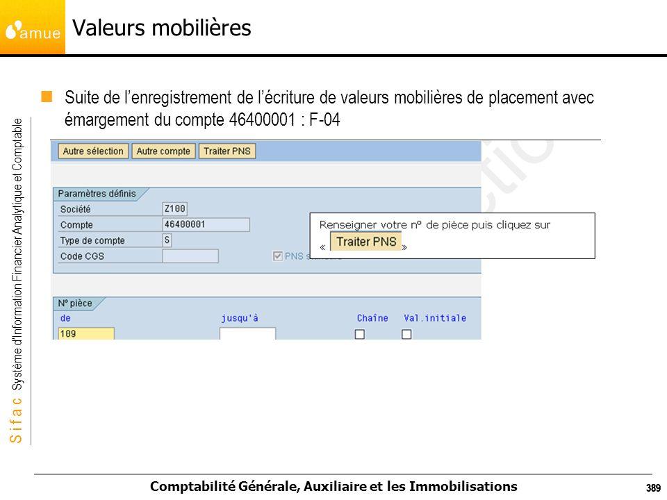 S i f a c Système dInformation Financier Analytique et Comptable Comptabilité Générale, Auxiliaire et les Immobilisations 389 Valeurs mobilières Suite