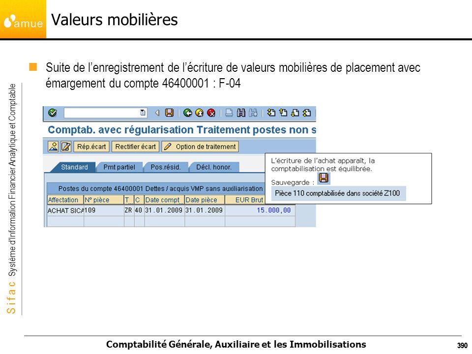S i f a c Système dInformation Financier Analytique et Comptable Comptabilité Générale, Auxiliaire et les Immobilisations 390 Valeurs mobilières Suite