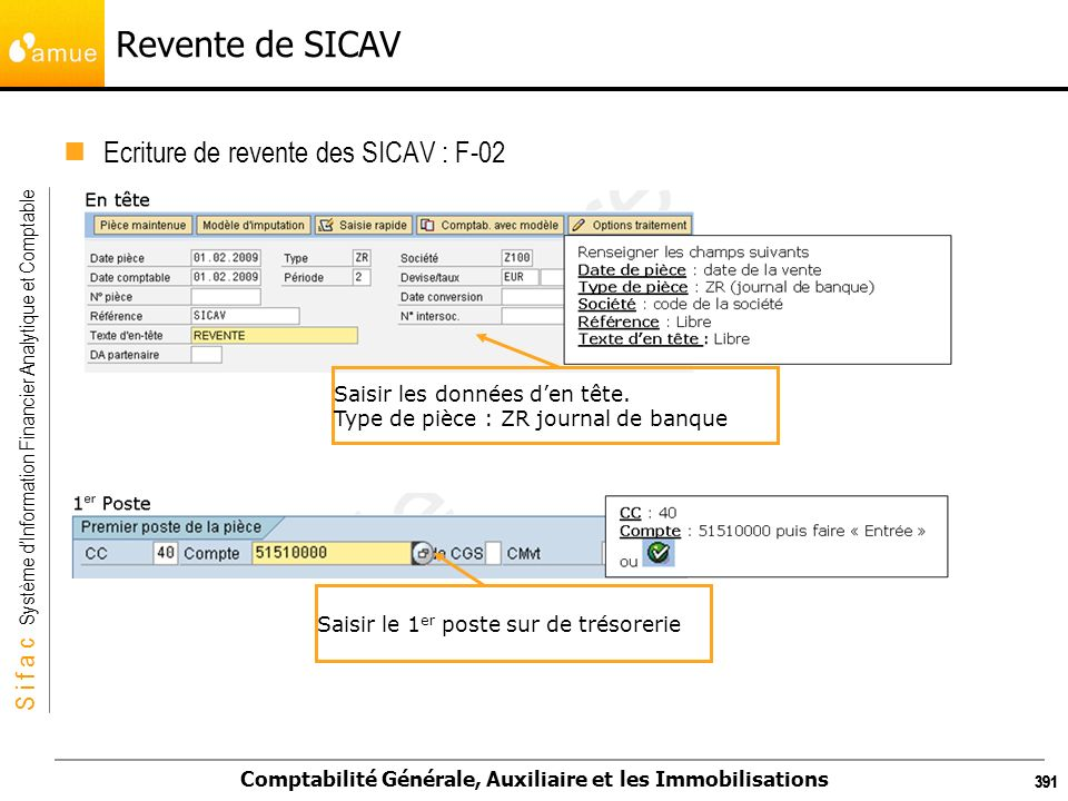 S i f a c Système dInformation Financier Analytique et Comptable Comptabilité Générale, Auxiliaire et les Immobilisations 391 Revente de SICAV Ecritur