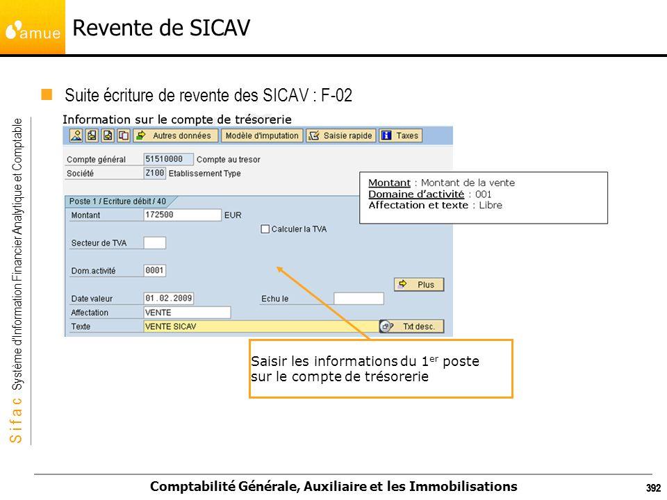 S i f a c Système dInformation Financier Analytique et Comptable Comptabilité Générale, Auxiliaire et les Immobilisations 392 Revente de SICAV Suite é