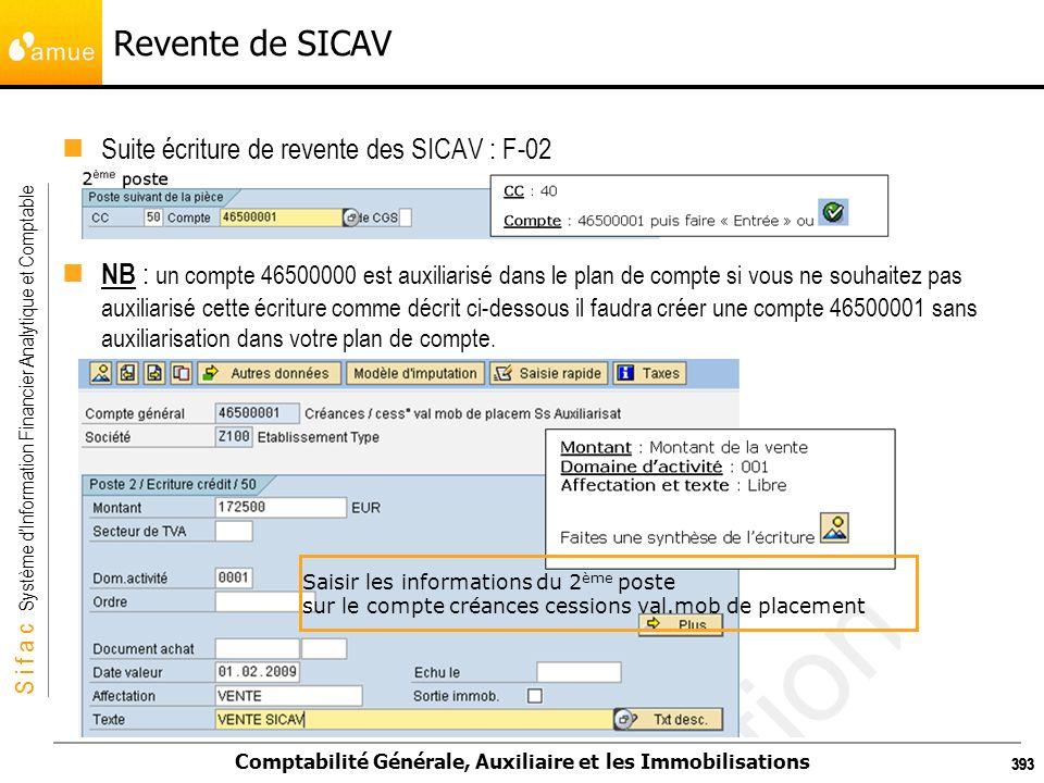 S i f a c Système dInformation Financier Analytique et Comptable Comptabilité Générale, Auxiliaire et les Immobilisations 393 Revente de SICAV Suite é
