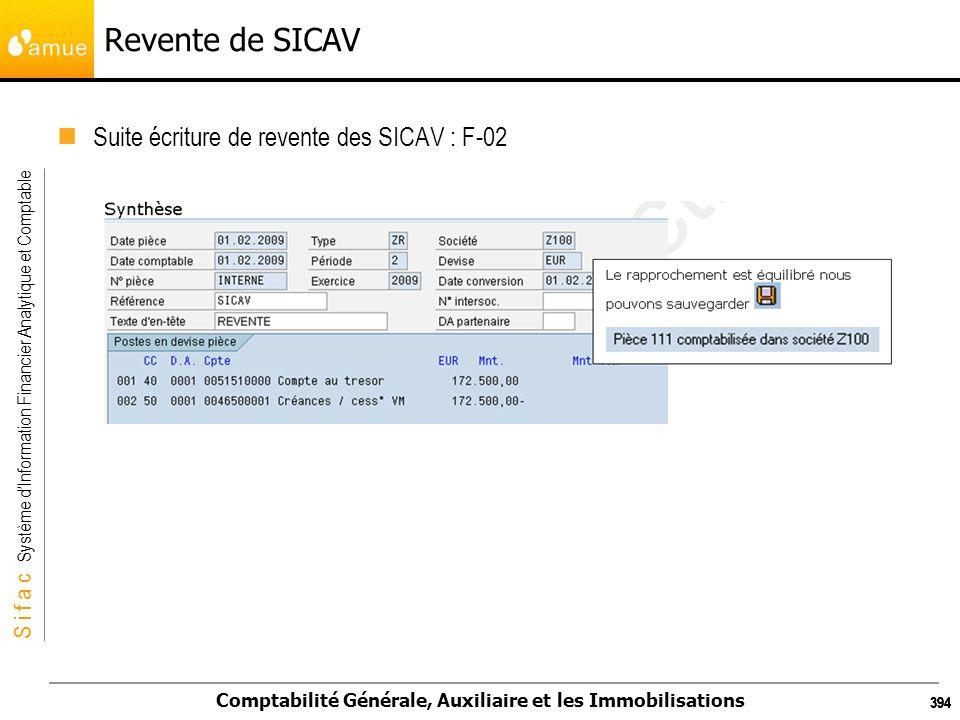 S i f a c Système dInformation Financier Analytique et Comptable Comptabilité Générale, Auxiliaire et les Immobilisations 394 Revente de SICAV Suite é