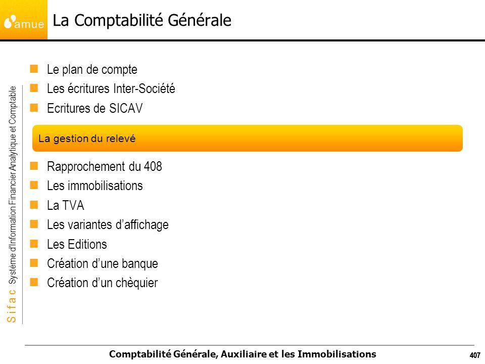 S i f a c Système dInformation Financier Analytique et Comptable Comptabilité Générale, Auxiliaire et les Immobilisations 407 La Comptabilité Générale
