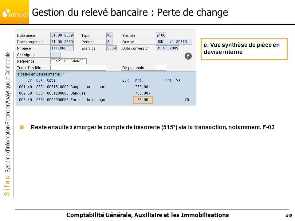 S i f a c Système dInformation Financier Analytique et Comptable Comptabilité Générale, Auxiliaire et les Immobilisations 418 f e. Vue synthèse de piè