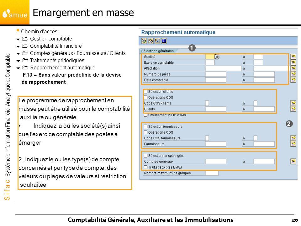 S i f a c Système dInformation Financier Analytique et Comptable Comptabilité Générale, Auxiliaire et les Immobilisations 422 Emargement en masse Chem