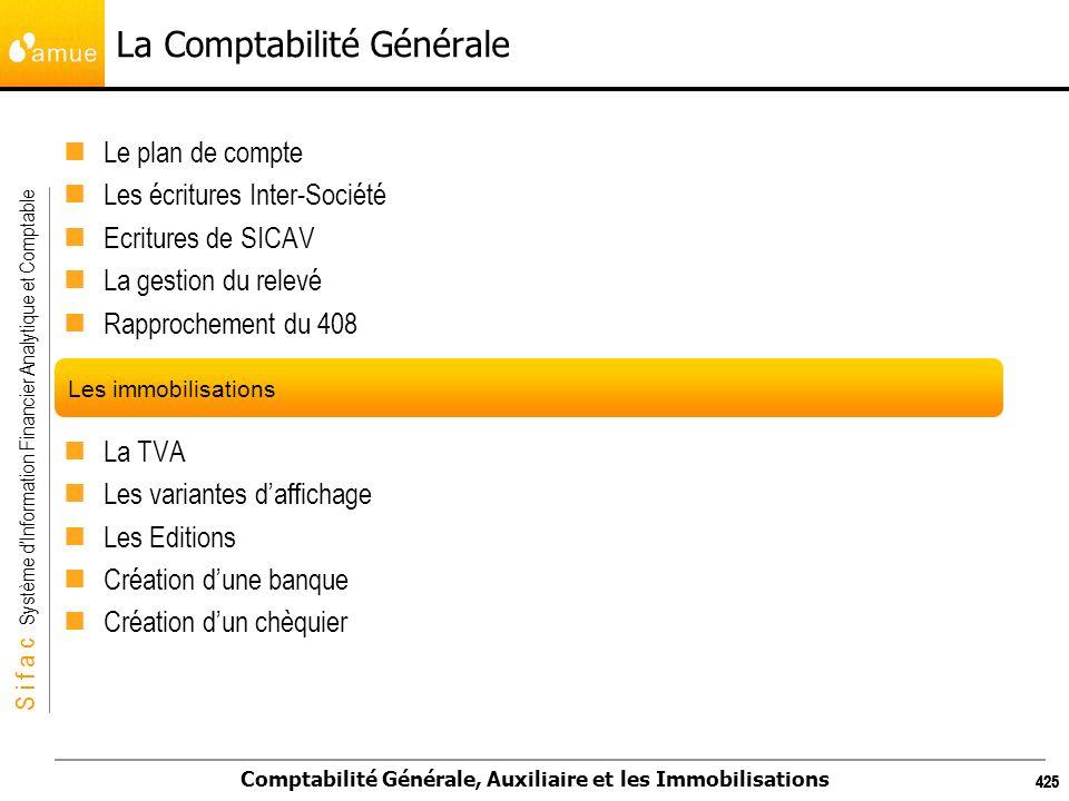 S i f a c Système dInformation Financier Analytique et Comptable Comptabilité Générale, Auxiliaire et les Immobilisations 425 La Comptabilité Générale