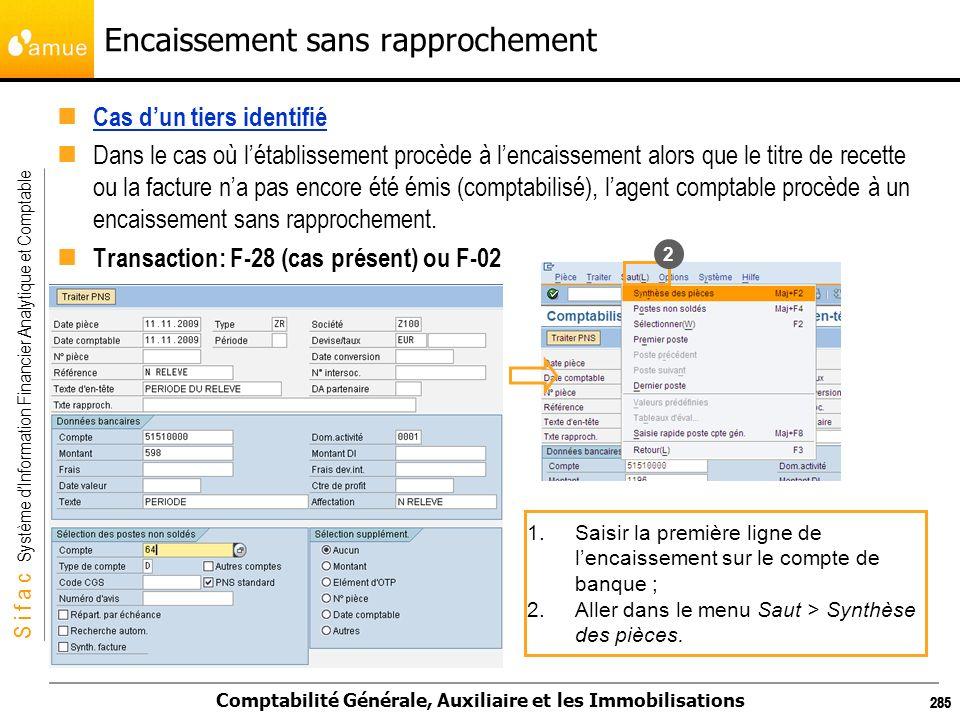 S i f a c Système dInformation Financier Analytique et Comptable Comptabilité Générale, Auxiliaire et les Immobilisations 285 Encaissement sans rappro