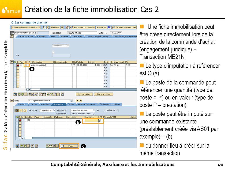 S i f a c Système dInformation Financier Analytique et Comptable Comptabilité Générale, Auxiliaire et les Immobilisations 435 Création de la fiche imm