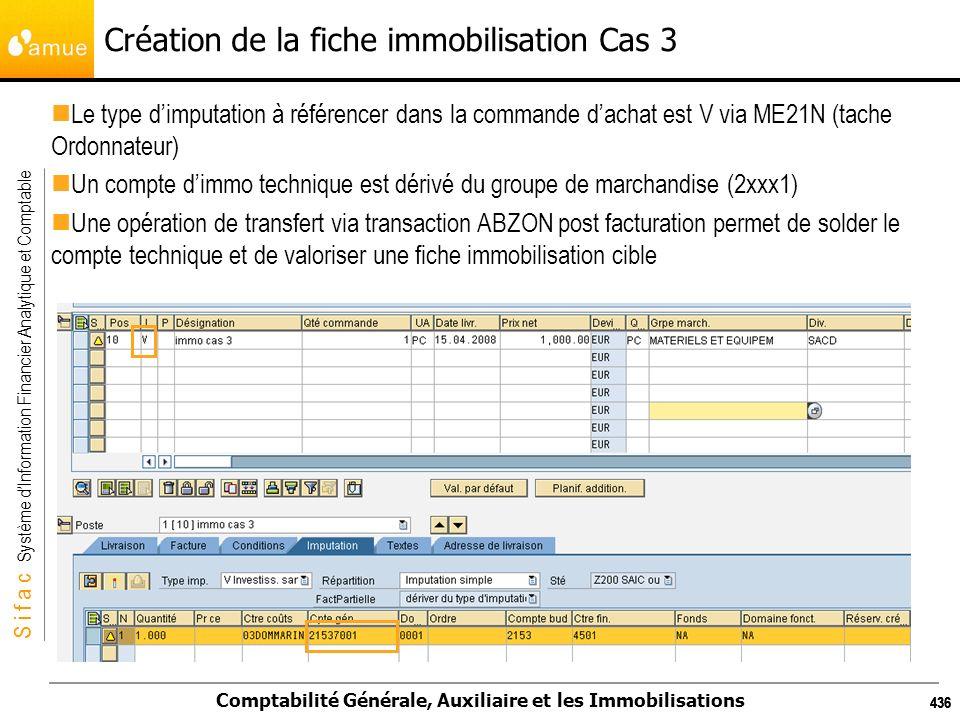 S i f a c Système dInformation Financier Analytique et Comptable Comptabilité Générale, Auxiliaire et les Immobilisations 436 Création de la fiche imm