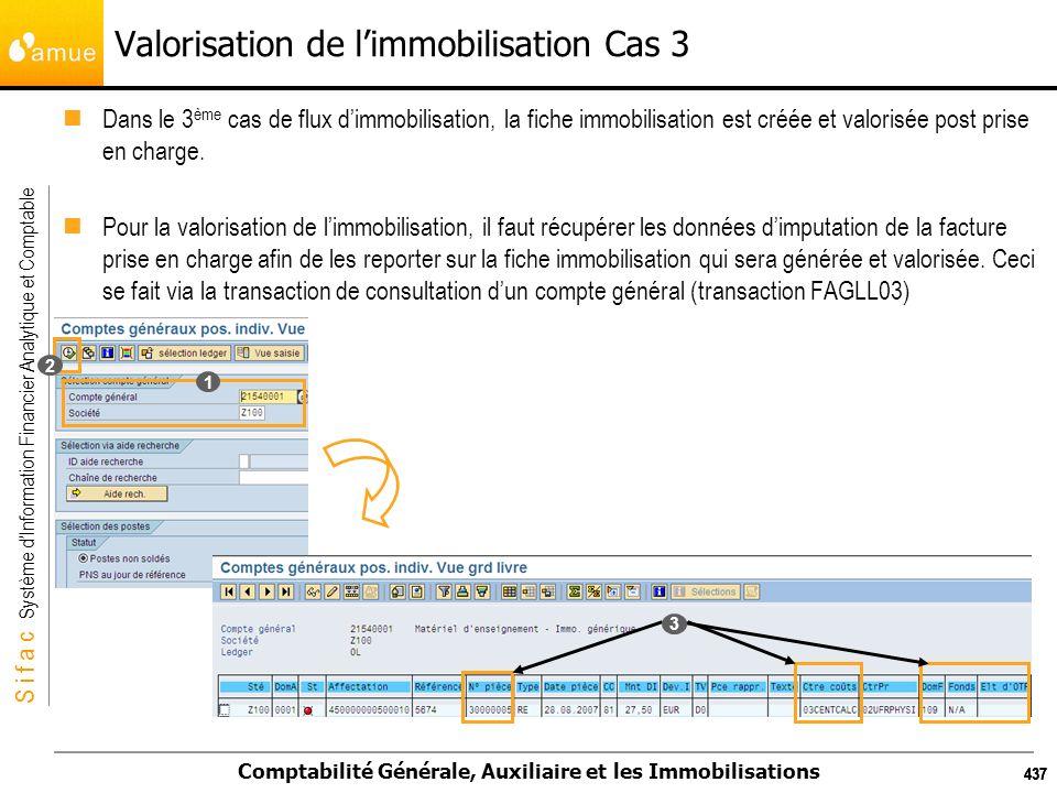 S i f a c Système dInformation Financier Analytique et Comptable Comptabilité Générale, Auxiliaire et les Immobilisations 437 Valorisation de limmobil
