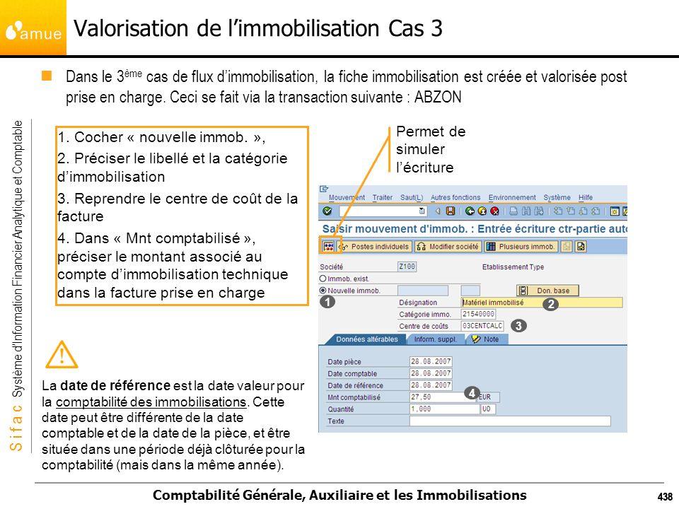 S i f a c Système dInformation Financier Analytique et Comptable Comptabilité Générale, Auxiliaire et les Immobilisations 438 Valorisation de limmobil