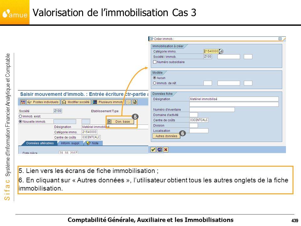 S i f a c Système dInformation Financier Analytique et Comptable Comptabilité Générale, Auxiliaire et les Immobilisations 439 Valorisation de limmobil
