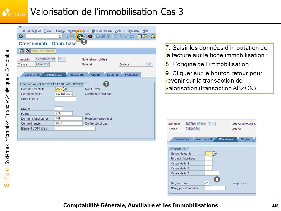 S i f a c Système dInformation Financier Analytique et Comptable Comptabilité Générale, Auxiliaire et les Immobilisations 440 Valorisation de limmobil