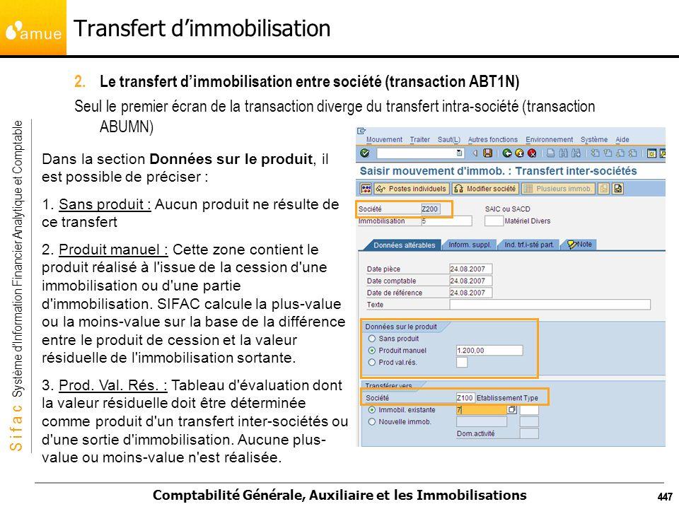 S i f a c Système dInformation Financier Analytique et Comptable Comptabilité Générale, Auxiliaire et les Immobilisations 447 2.Le transfert dimmobili