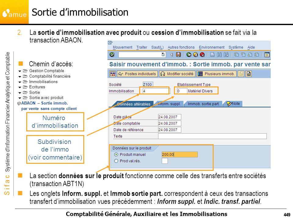 S i f a c Système dInformation Financier Analytique et Comptable Comptabilité Générale, Auxiliaire et les Immobilisations 449 Sortie dimmobilisation 2
