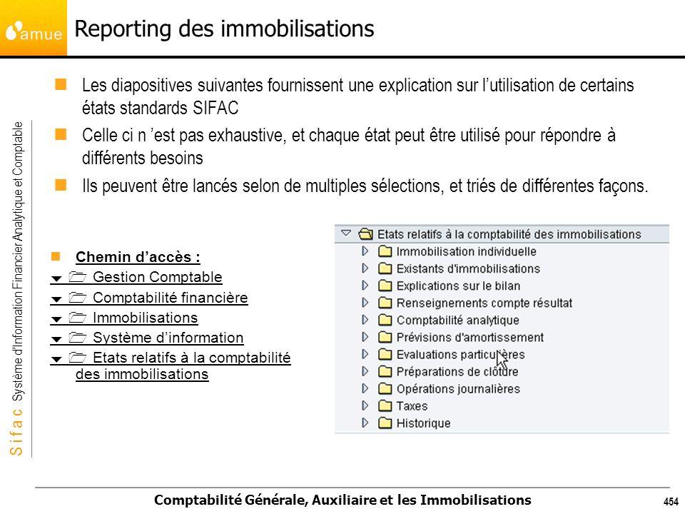S i f a c Système dInformation Financier Analytique et Comptable Comptabilité Générale, Auxiliaire et les Immobilisations 454 Reporting des immobilisa