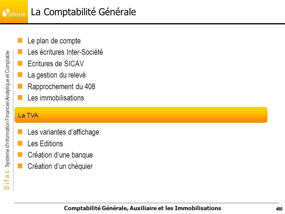 S i f a c Système dInformation Financier Analytique et Comptable Comptabilité Générale, Auxiliaire et les Immobilisations 460 La Comptabilité Générale