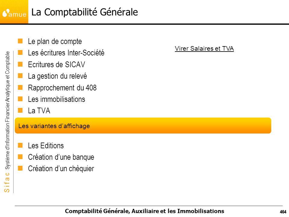 S i f a c Système dInformation Financier Analytique et Comptable Comptabilité Générale, Auxiliaire et les Immobilisations 464 La Comptabilité Générale