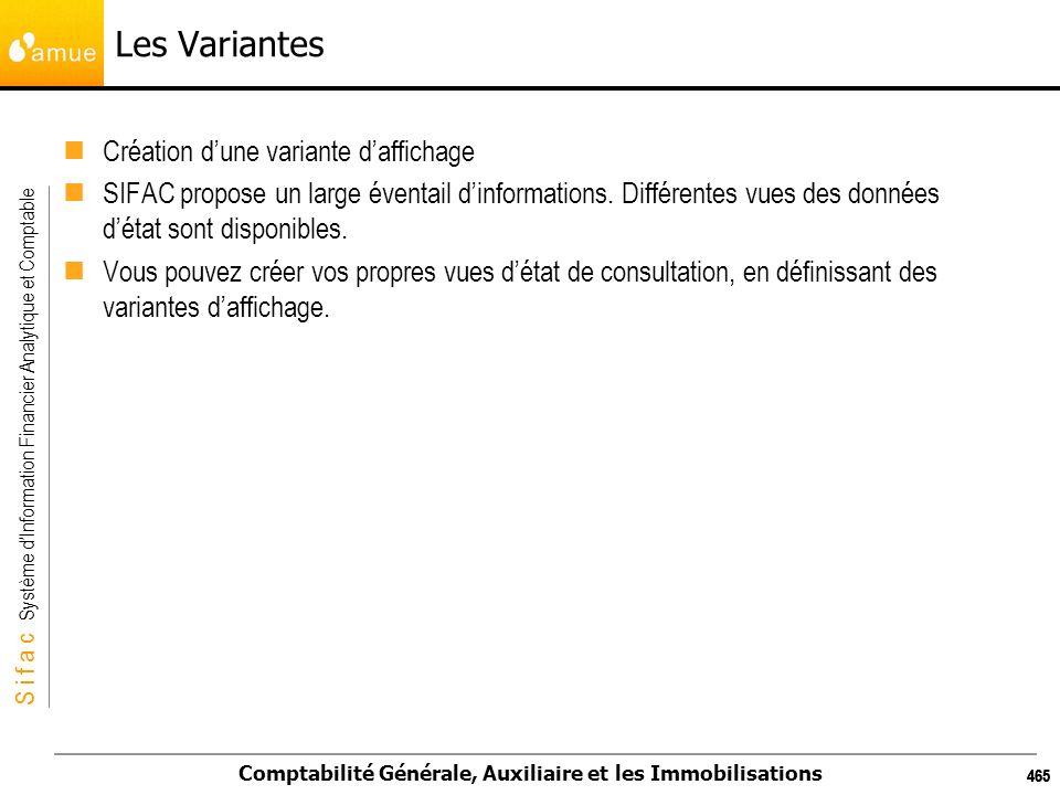 S i f a c Système dInformation Financier Analytique et Comptable Comptabilité Générale, Auxiliaire et les Immobilisations 465 Les Variantes Création d
