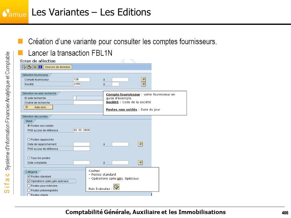 S i f a c Système dInformation Financier Analytique et Comptable Comptabilité Générale, Auxiliaire et les Immobilisations 466 Les Variantes – Les Edit