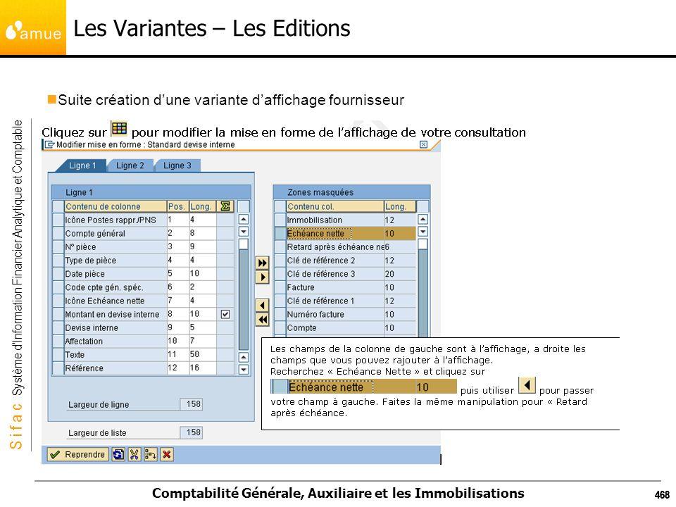 S i f a c Système dInformation Financier Analytique et Comptable Comptabilité Générale, Auxiliaire et les Immobilisations 468 Les Variantes – Les Edit