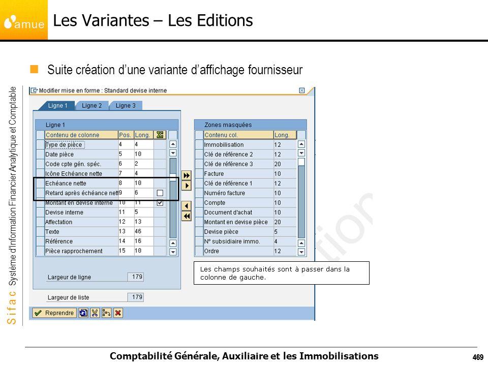 S i f a c Système dInformation Financier Analytique et Comptable Comptabilité Générale, Auxiliaire et les Immobilisations 469 Les Variantes – Les Edit