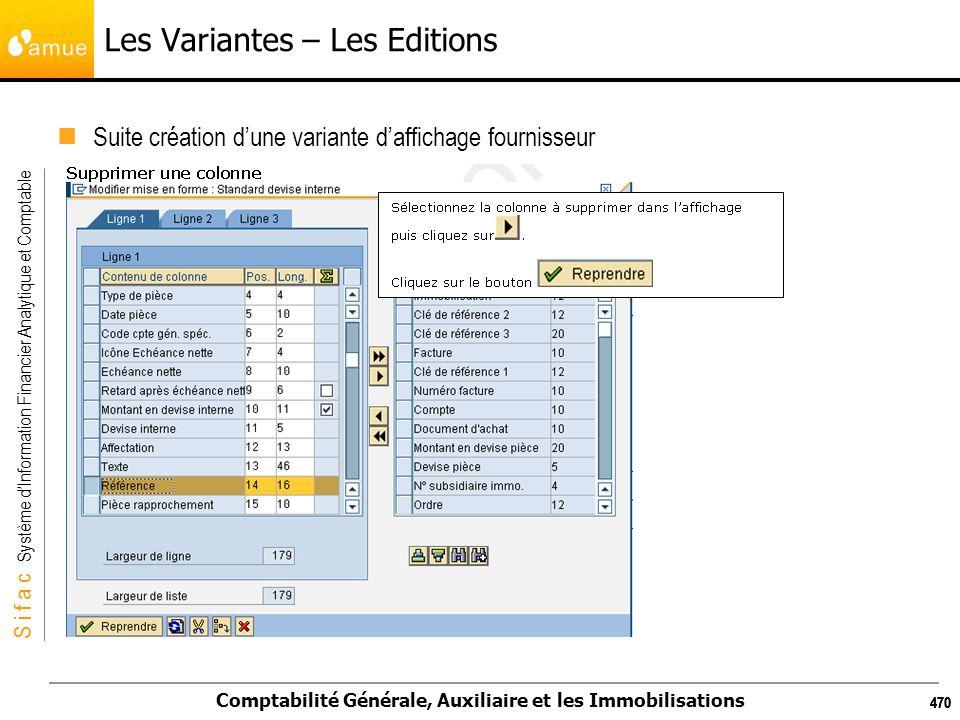 S i f a c Système dInformation Financier Analytique et Comptable Comptabilité Générale, Auxiliaire et les Immobilisations 470 Les Variantes – Les Edit