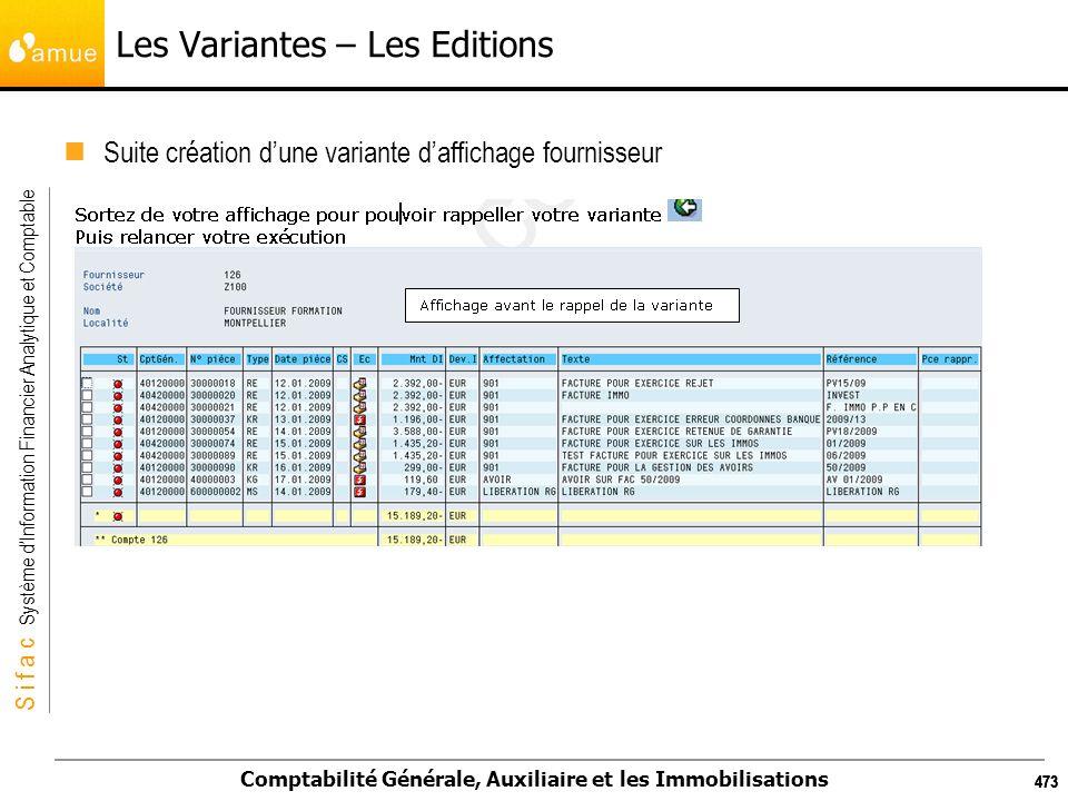 S i f a c Système dInformation Financier Analytique et Comptable Comptabilité Générale, Auxiliaire et les Immobilisations 473 Les Variantes – Les Edit
