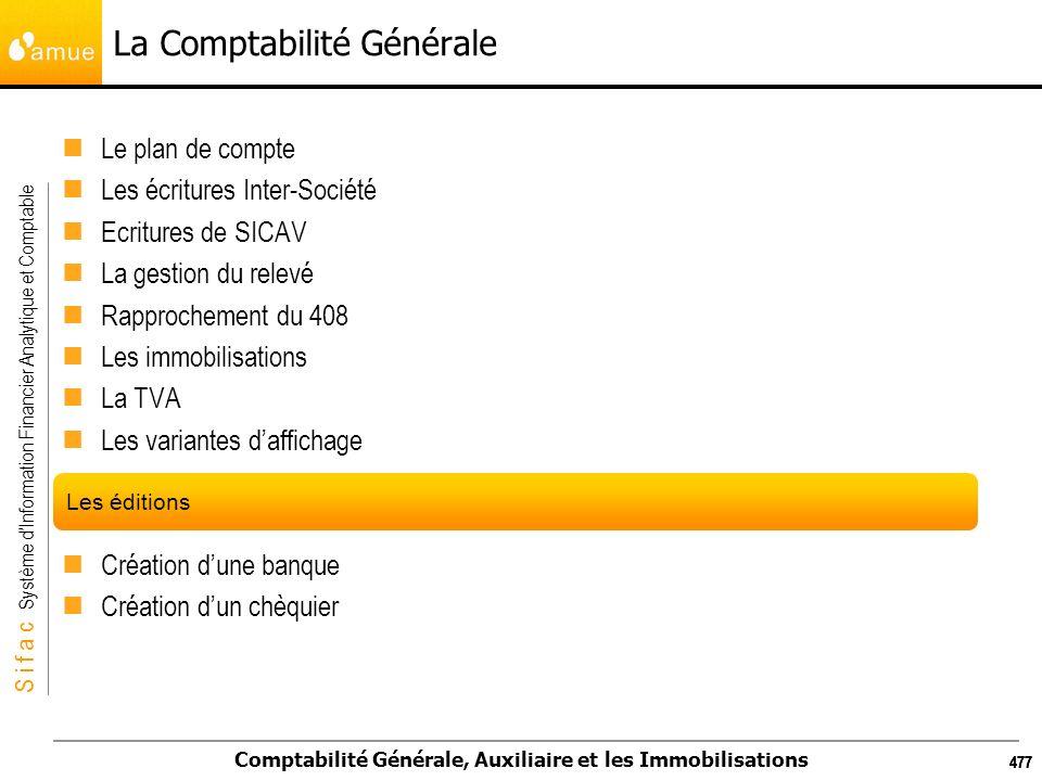 S i f a c Système dInformation Financier Analytique et Comptable Comptabilité Générale, Auxiliaire et les Immobilisations 477 La Comptabilité Générale