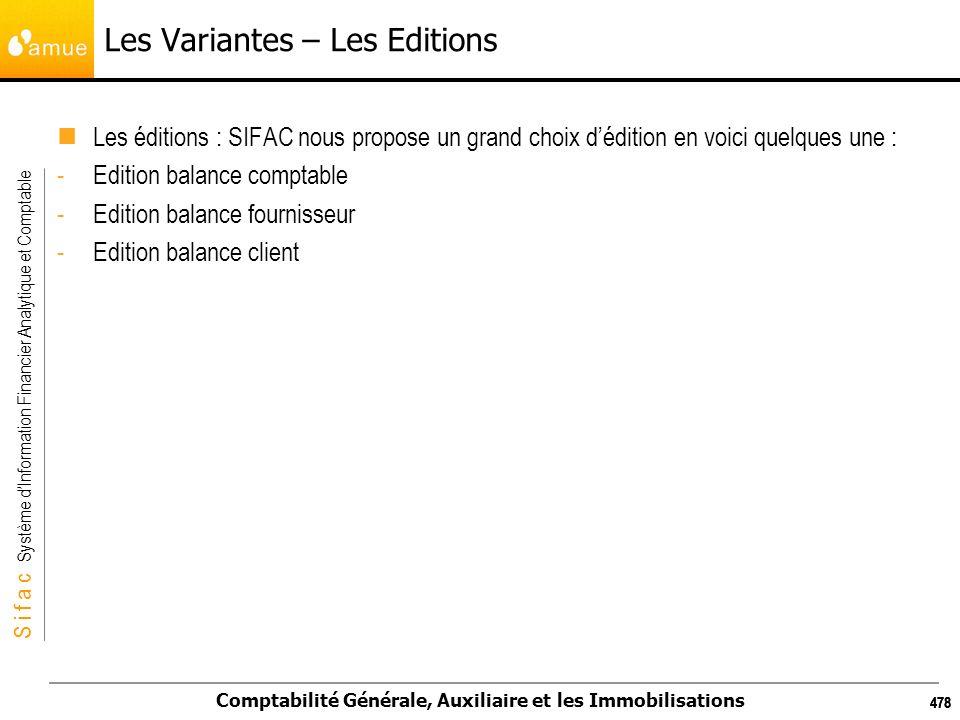 S i f a c Système dInformation Financier Analytique et Comptable Comptabilité Générale, Auxiliaire et les Immobilisations 478 Les Variantes – Les Edit