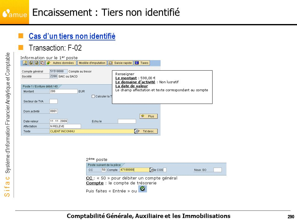 S i f a c Système dInformation Financier Analytique et Comptable Comptabilité Générale, Auxiliaire et les Immobilisations 290 Encaissement : Tiers non