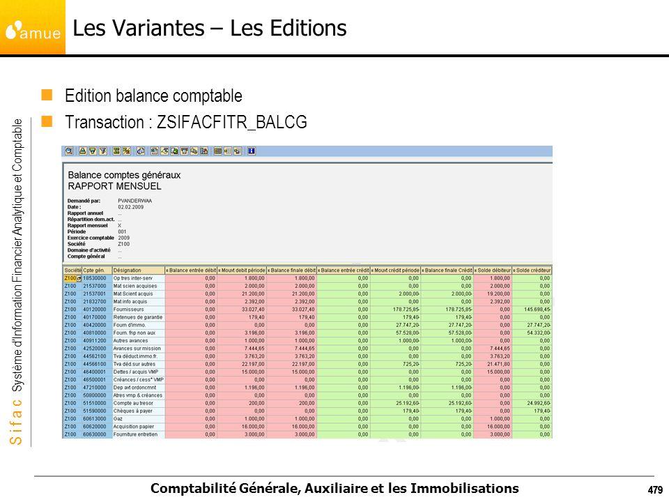 S i f a c Système dInformation Financier Analytique et Comptable Comptabilité Générale, Auxiliaire et les Immobilisations 479 Les Variantes – Les Edit