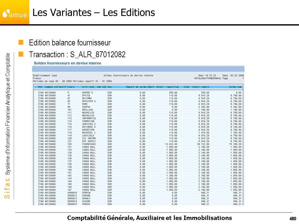 S i f a c Système dInformation Financier Analytique et Comptable Comptabilité Générale, Auxiliaire et les Immobilisations 480 Les Variantes – Les Edit