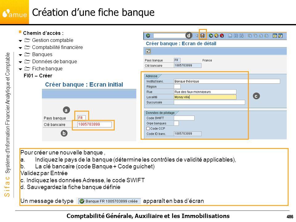 S i f a c Système dInformation Financier Analytique et Comptable Comptabilité Générale, Auxiliaire et les Immobilisations 486 Création dune fiche banq