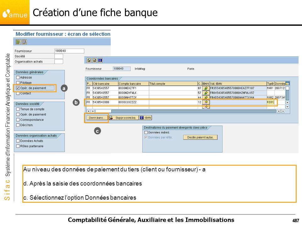 S i f a c Système dInformation Financier Analytique et Comptable Comptabilité Générale, Auxiliaire et les Immobilisations 487 Création dune fiche banq