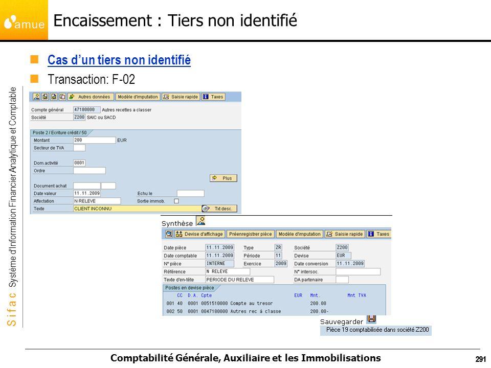 S i f a c Système dInformation Financier Analytique et Comptable Comptabilité Générale, Auxiliaire et les Immobilisations 291 Encaissement : Tiers non