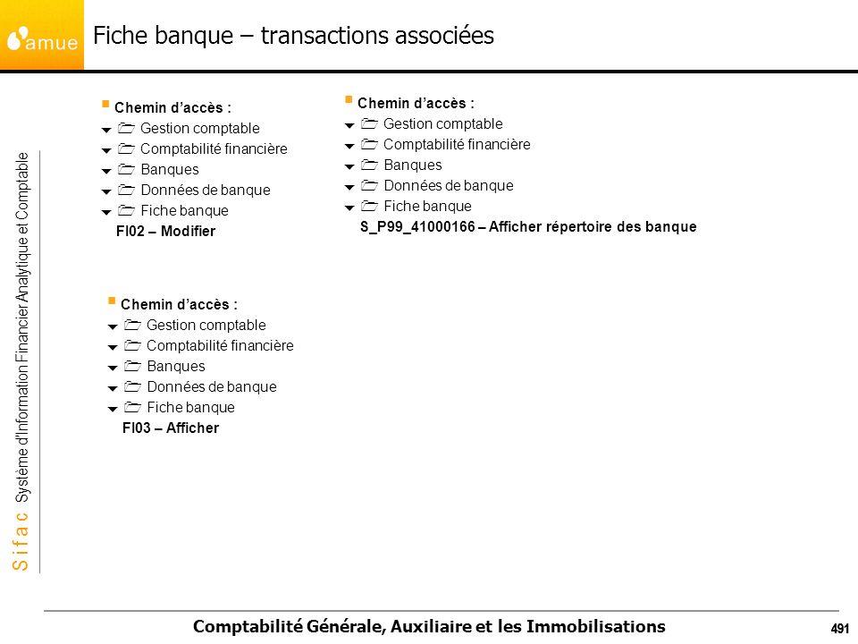 S i f a c Système dInformation Financier Analytique et Comptable Comptabilité Générale, Auxiliaire et les Immobilisations 491 Fiche banque – transacti